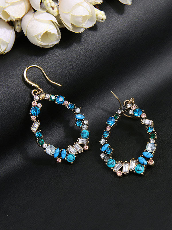 Colorful Gemstone Oval Earrings