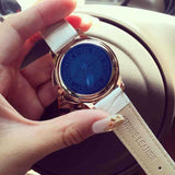 Carved Blue Starry Leather Strap Women's Watch