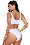 White Zip Front 2pcs Bikini Sporty Swimsuit