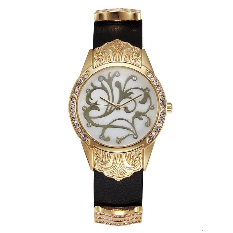 Flower Pattern Waterproof Women's Watch