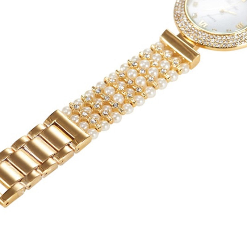 Pearl Strap Round Dial Women's Watch