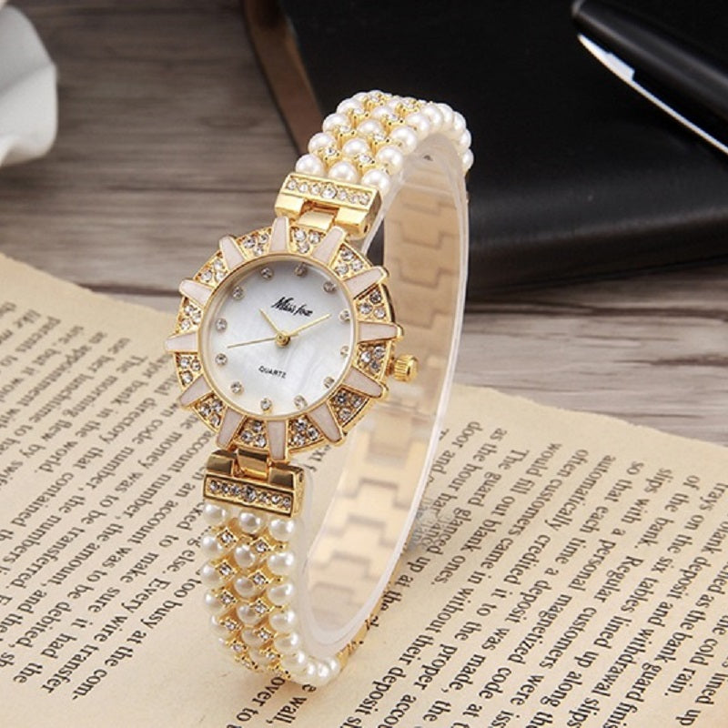 Pearl Strap With Diamond Women's Watch