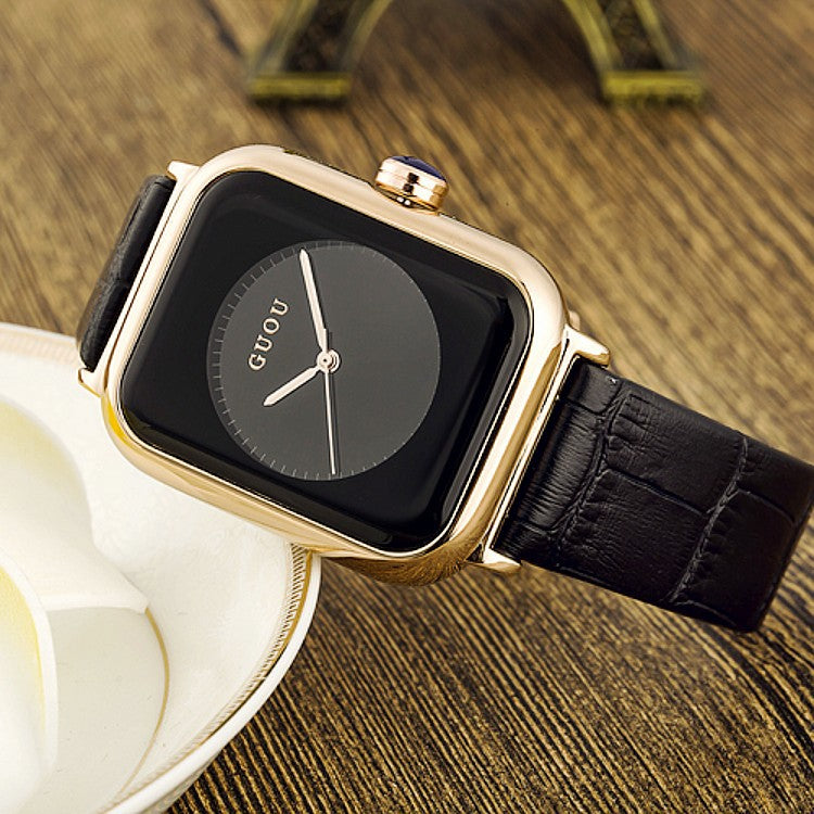 Women's Watch black square pattern dial leather strap quartz women's clothing watch