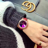 Personality Dial Rhinestone Leather Belt Watch