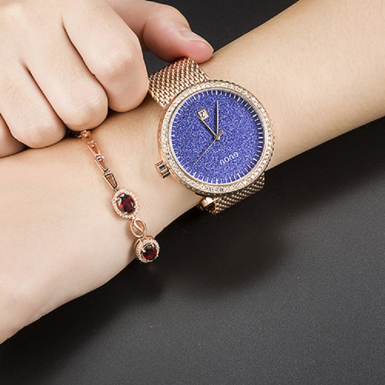 Women's Watch purple starry dial with calendar stainless steel strap elegant watch