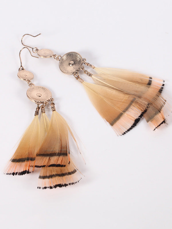 Round Multi-pattern Feather Earrings
