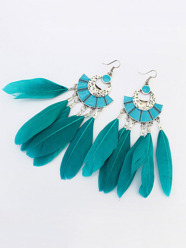 Vintage Fan-shaped Tassel Earrings