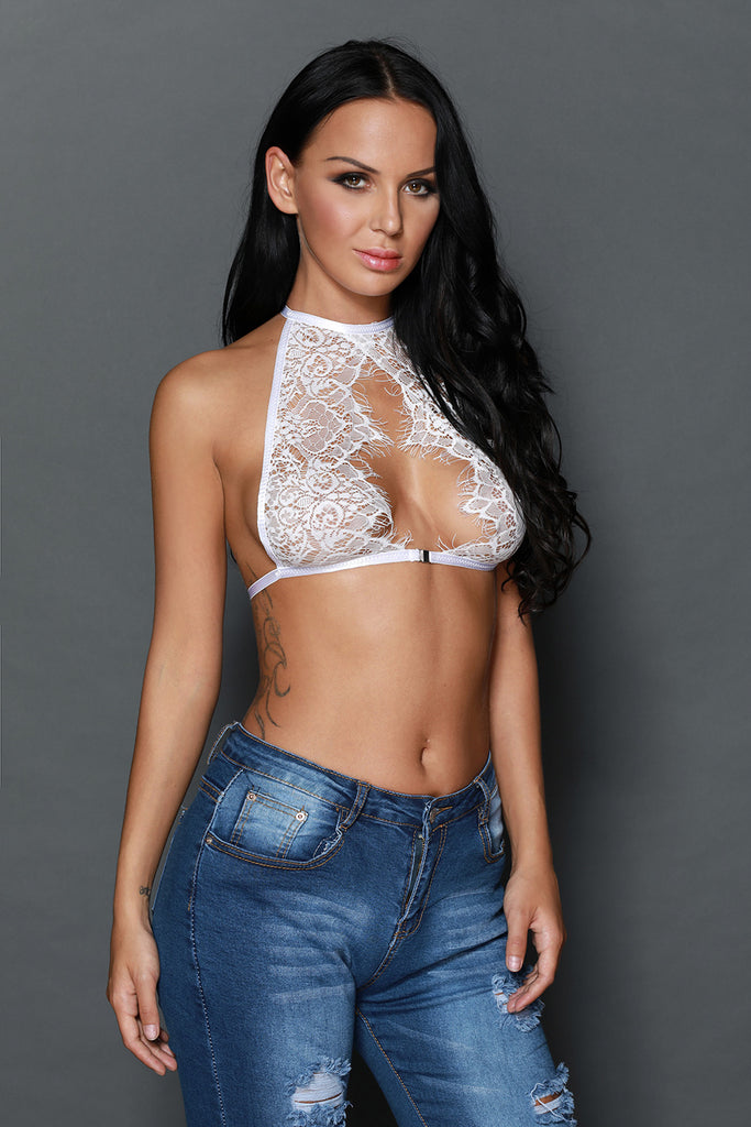 White Sheer Eyelash Lace Sultry Bralette Top