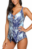 Blue Leaf Print Split Hemline One-Piece Swimsuit
