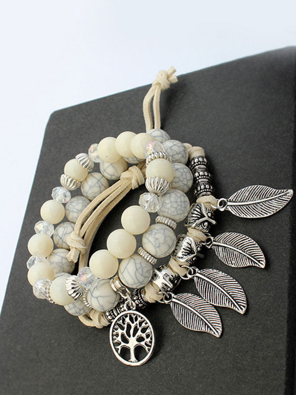 Life Tree Leaf Multilayer Glass Beaded Bracelet