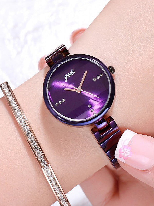 Simple Monochrome Stain Steel Women's Watch