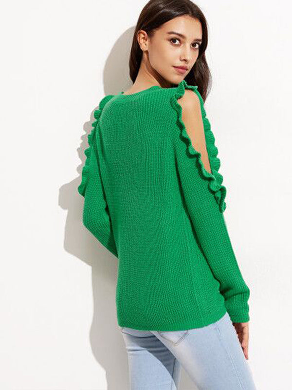 Round Neck Long Sleeve Knit Sweater