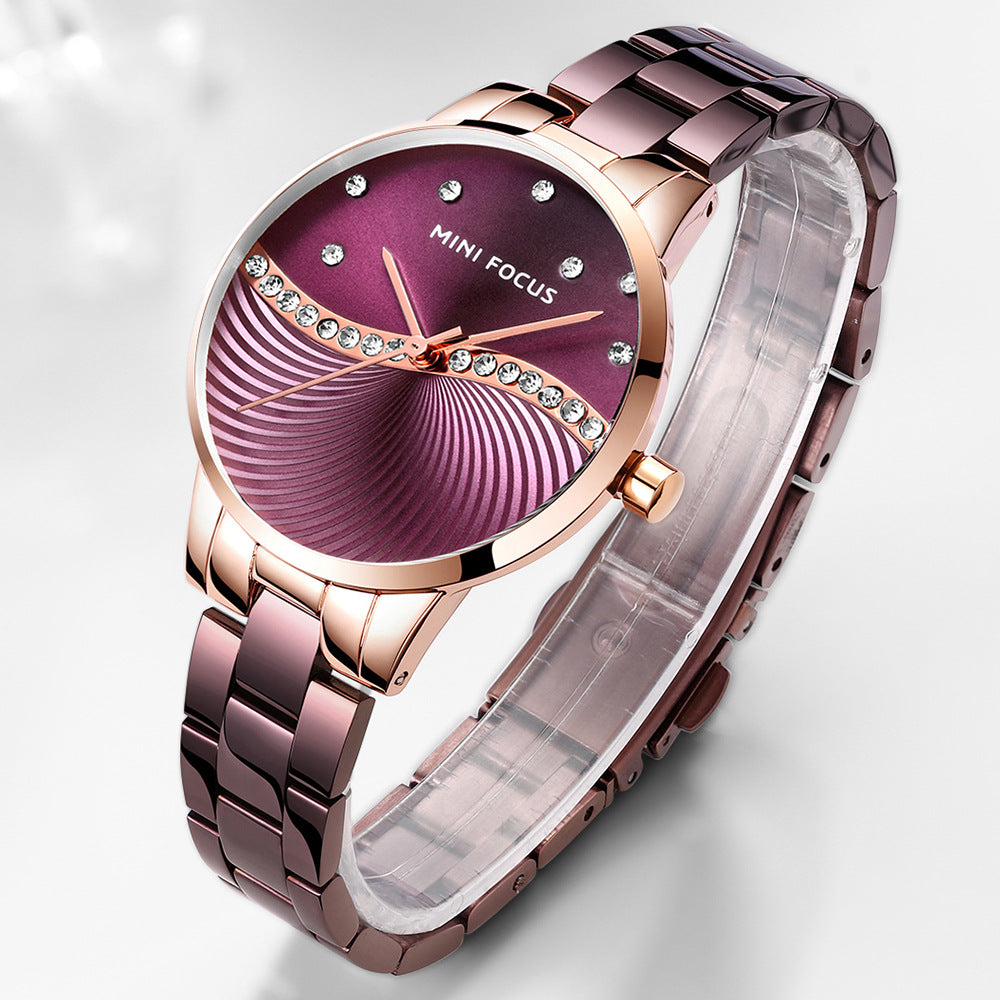 Fashion steel band watch Japanese movement diamond inlaid waterproof women's Watch