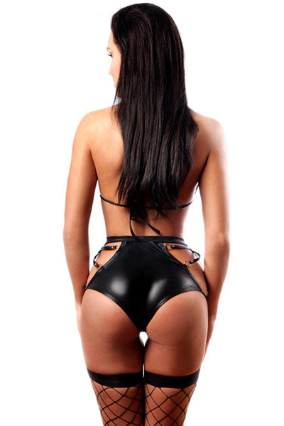 Caged Wet Look Dominating Diva Short Set