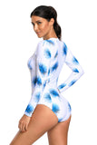 Blue Dandelion Print White Long Sleeve One Piece Swimsuit