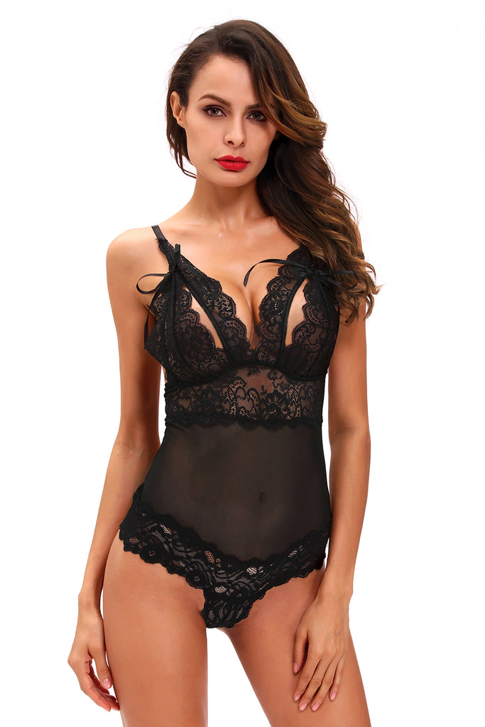 Black Scalloped Lace Accent Peek-a-boo Teddy Lingerie