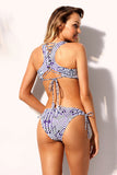 Exotic Print Racerback Bikini and Hipster Swimsuit