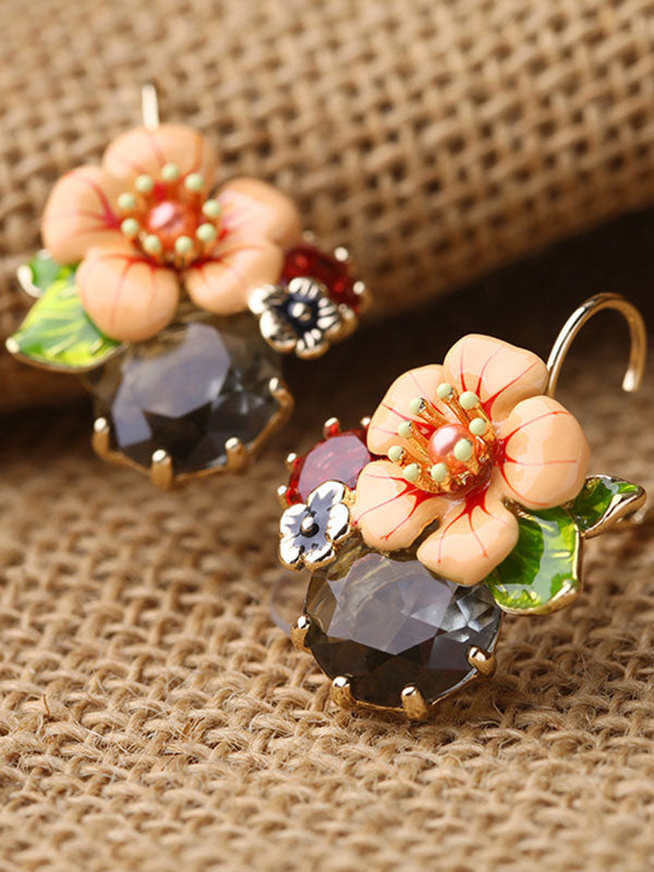 Glazed Flower Pattern Earrings