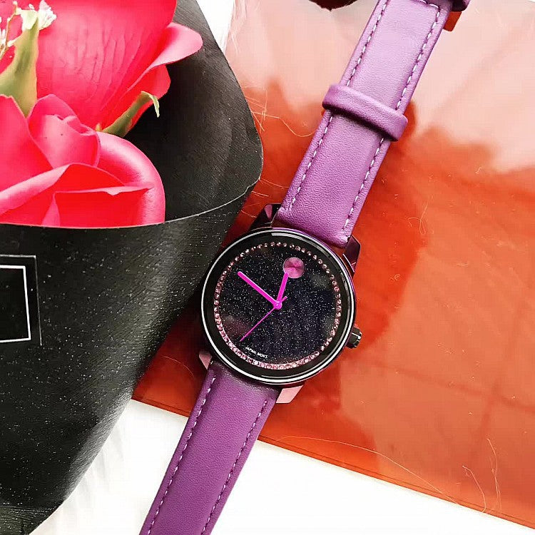 Purple Leather Strap Women's Watch