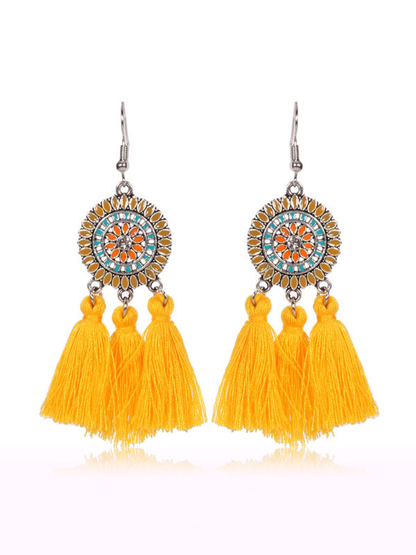 Sunflower Pattern Beautiful Earrings