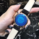 Rotatable Dial Leather Belt Women's Watch