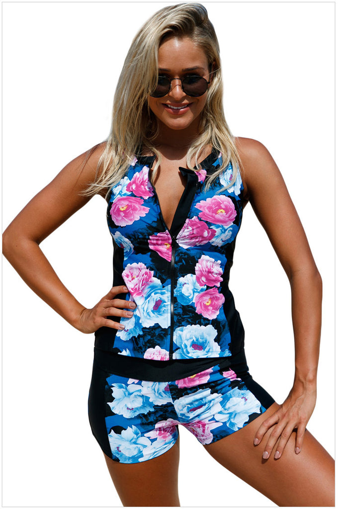 V-neck zipper printed sports underwire swimsuit