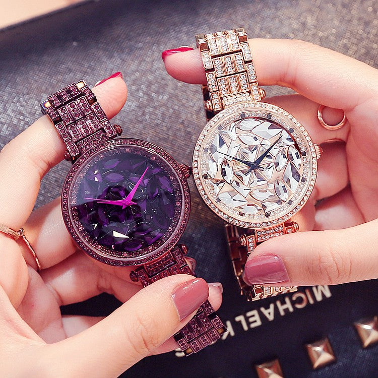 Women's Watch Glamour purple diamond large dial with diamond stainless steel strap elegant Watch