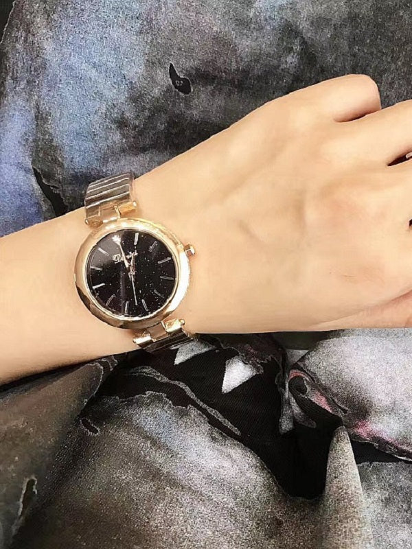 Elegant Starry Pattern Black Dial Women's Watch