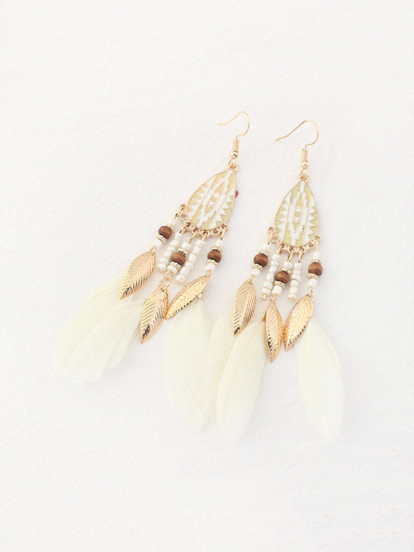 Vintage Rice Beads Tassel Feather Long Earrings