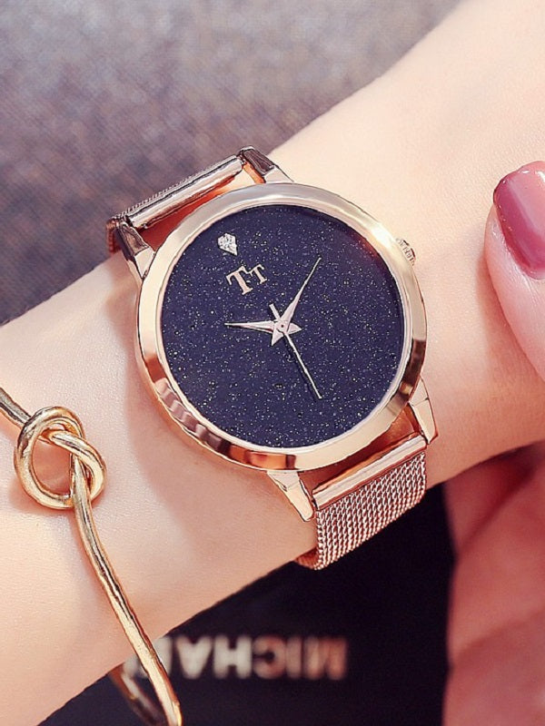 Starry Sky Pattern Stainless Steel Women's Watch