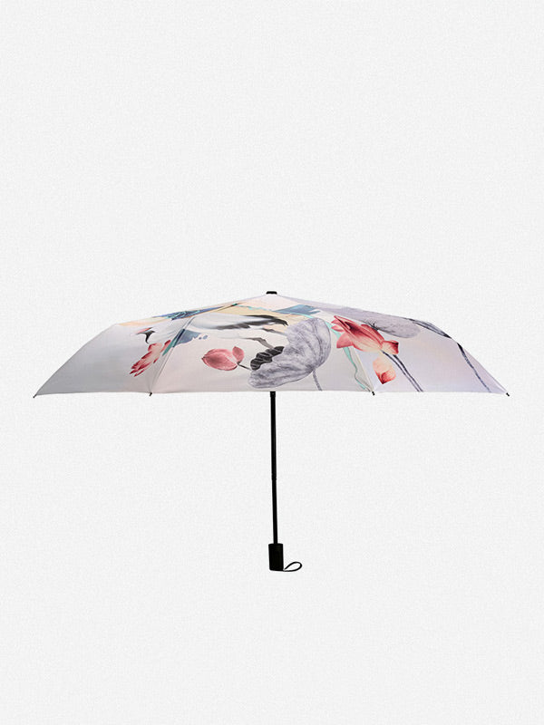 Ancient Lady with White Crane&Lotus Pattern Folding Umbrella