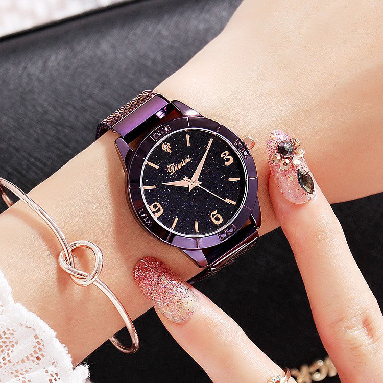 Starry Black Dial Women's Watch