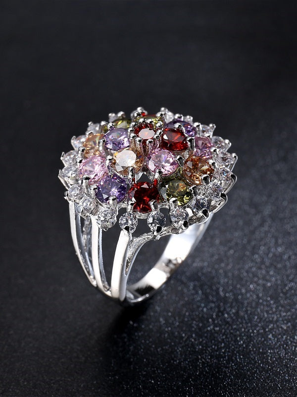 Zallure Colorful Flower Pattern Zircon Ring
