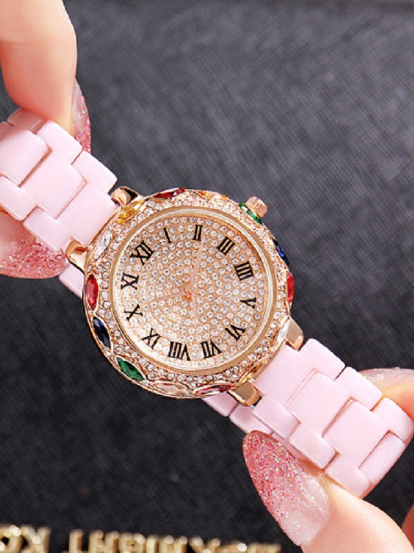 Colorful Diamond Ceramic Strap Women's Watch