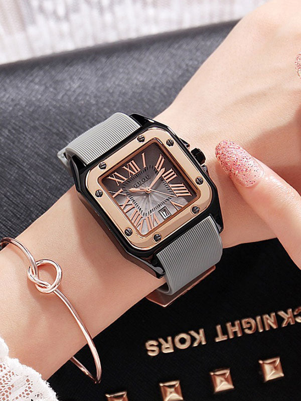 Women's Watch square calendar dial silicone strap simple watch