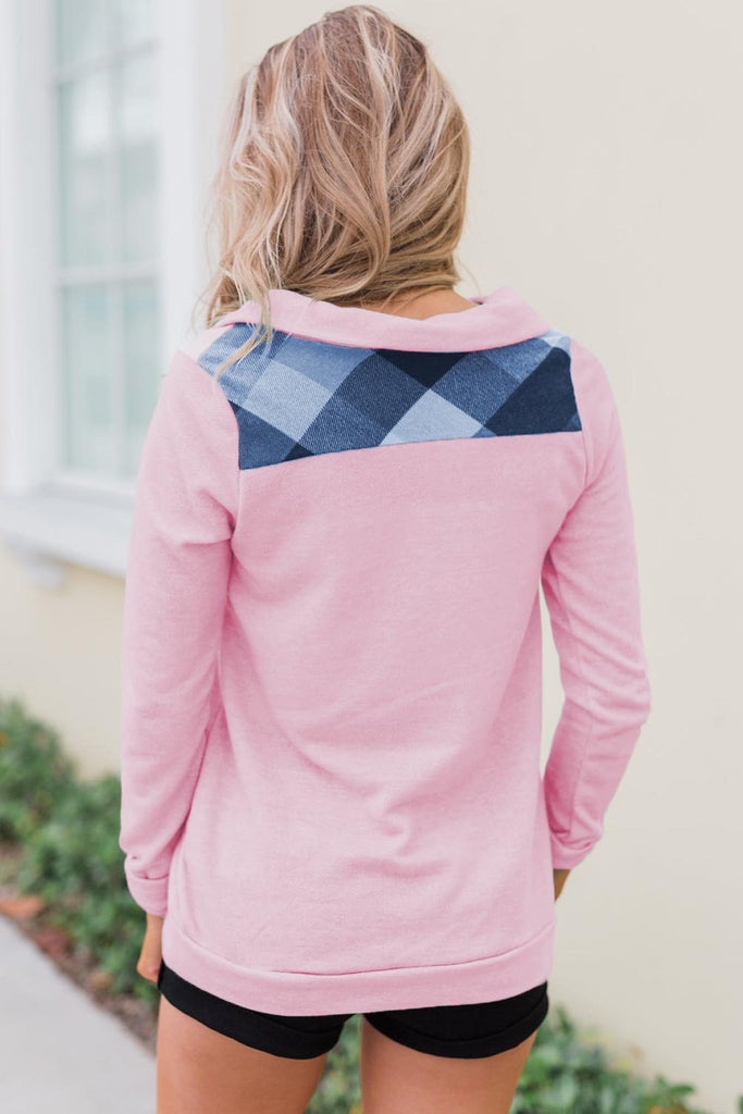 Pink Touch of Plaid Pullover Button Sweatshirt