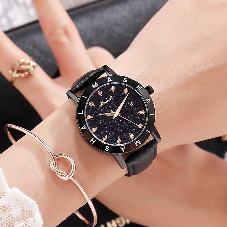 Starry Leather Strap Women's Watch