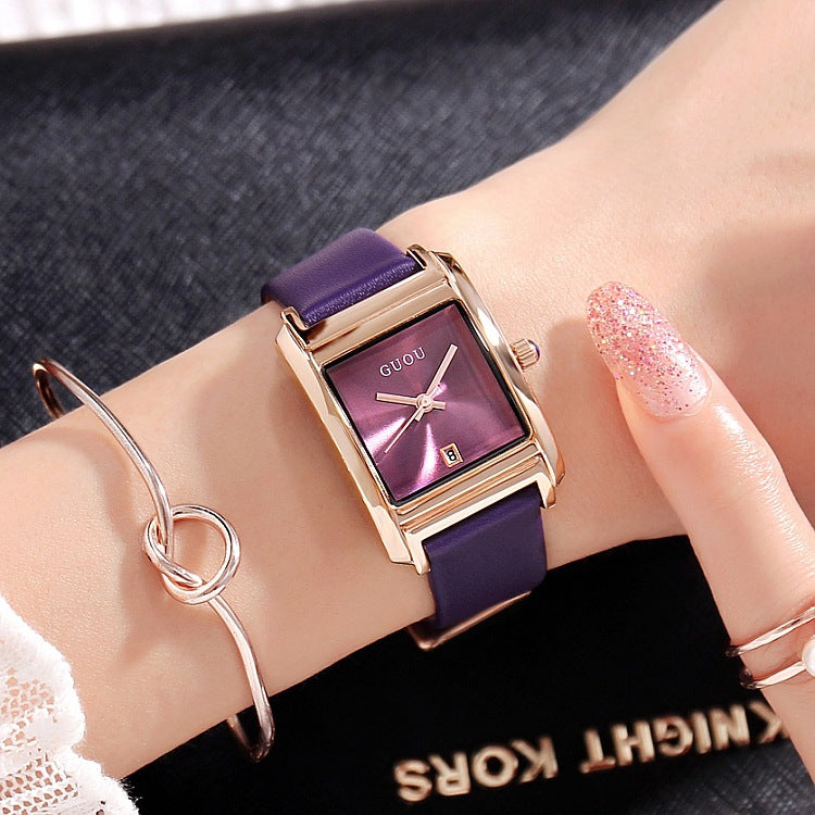 Square Pattern Leather Strap Women's Watch