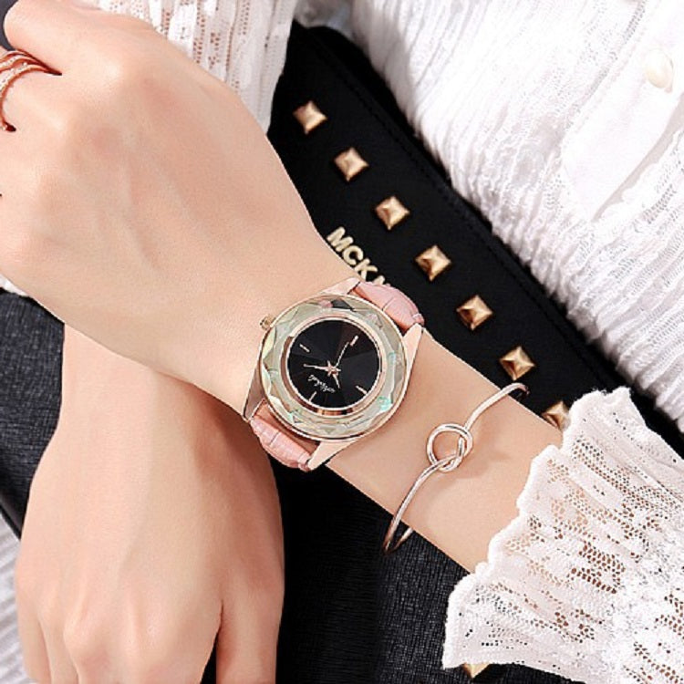 Large Dial Leather Strap Women's Watch
