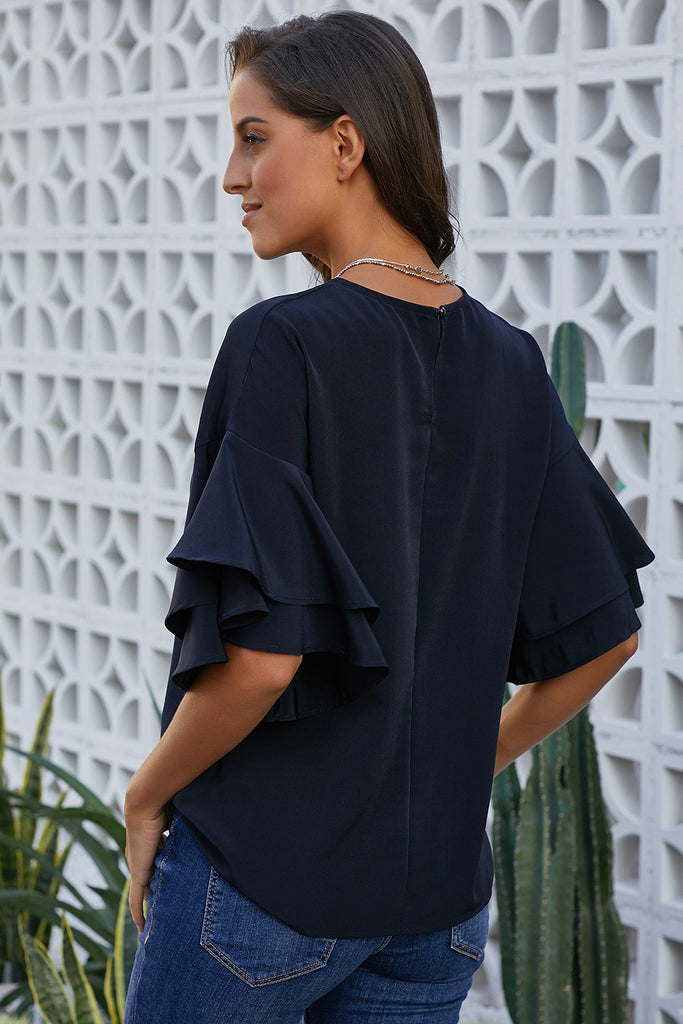Blue Hamlet Tiered Sleeve Blouse