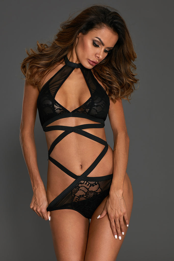 Black Strappy Halter Crisscross Lace Mesh Teddy