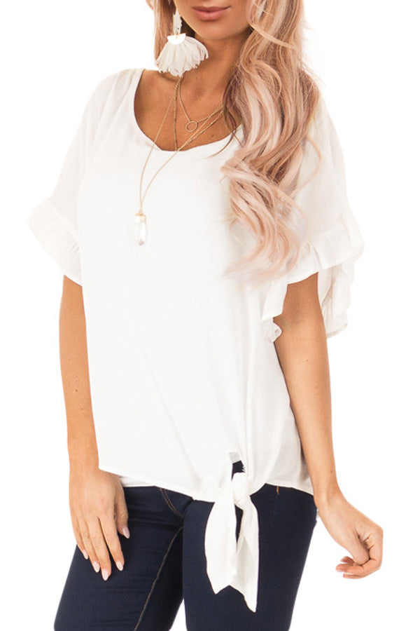 White Ruffled Sleeve Blouse with Front Knot Detail
