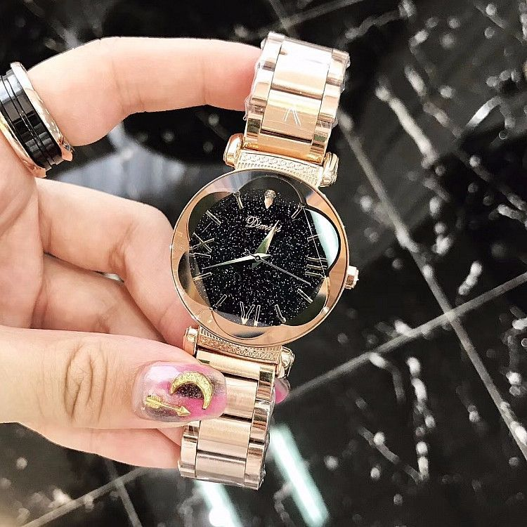 Plum-shaped Mirror Starry Dial Women's Watch