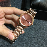 Women's Watch white round ultra-thin With Calendar dial gold stainless steel strap simple watch