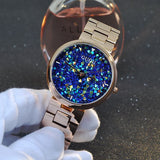 Women's Watch starry sky rhinestone rose gold starry embellishment dial stainless steel strap elegant watch