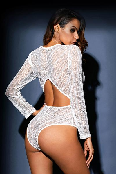Deep V Neck Long Sleeve Bodysuit with Open Back