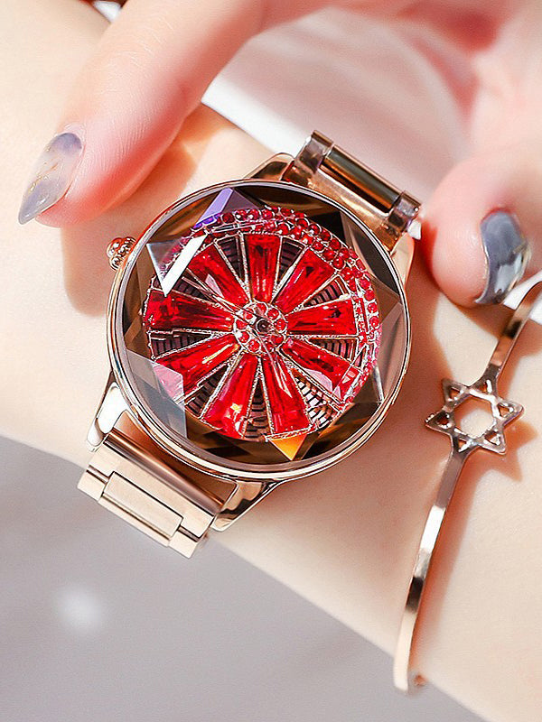 Women's Watch Large turntable red diamond dial stainless steel elegant watch