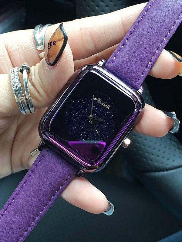Starry Square Leather Womens' Watch