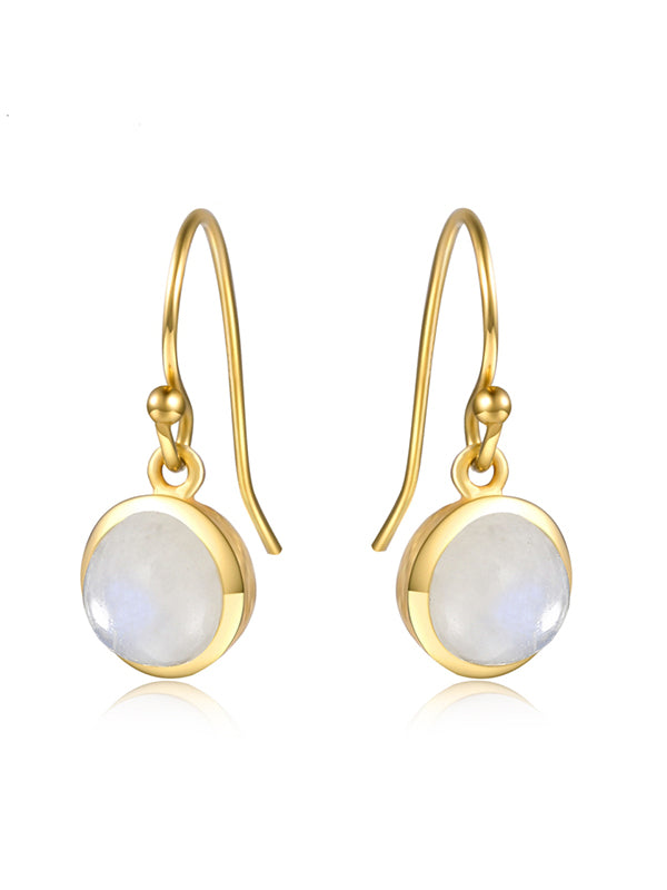 White Natural Moonstone Earrings