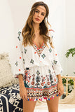 V-neck Printing Seven-quarter Sleeve Rompers